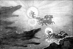 Skoll y hati persiguiendo a la luna y el sol