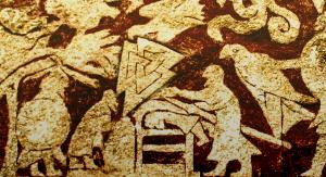 grabado en piedra del valknut durante lo que parece un rito funerario