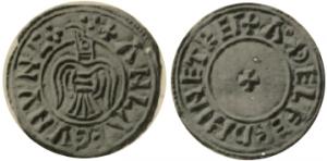 Moneda de plata de Olaf Sigtryggsson cuaram con cuervo odin
