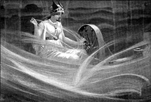 Diosa vikinga Frigg hilando las nubes por jc dollman